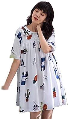 Lindo Algodón Pijamas Verano Señoras De Manga Corta Cuello Camisón Suelto Vestido De Dibujos Animados De Casa Ropa (Color : Blanco, Tamaño : XL): Amazon.es: Hogar