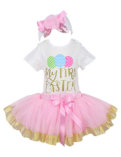 Baby Girls 3PCs Sets My 1st Easter Tutu Romper Dress Short Bodysuit Headband Outfit 6-9 Months Pink ()