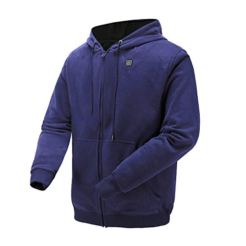 Heated Hoodie,Outdoor Work Heated Jacket Kit with 7.4 V Battery and Charger (Navy-XL)