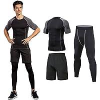 Niksa ランニングウェア メンズ スポーツ トレーニング ウェア 長袖/半袖 吸汗 速乾 加圧 保護 高弾力 防臭 姿勢矯正 ラウンドネック 3件セット/4件 セット 4色
