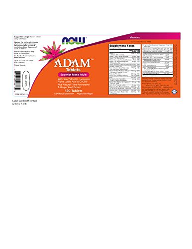 NOW Supplements, ADAM Men's Multivitamin with Saw Palmetto, Lycopene, Alpha Lipoic Acid and CoQ10, Plus Natural Resveratrol & Grape Seed Extract, 120 Tablets by NOW Foods