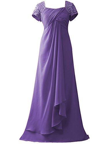 Kleider Lang Lavendel Chiffon Brautmutterkleider Empire Pailletten HUINI Hochzeit Partykleider Abendkleider Linie A 84S5q