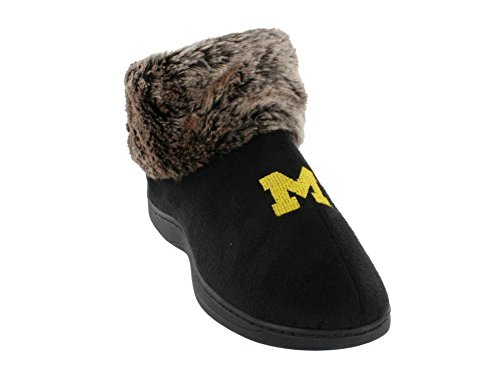 MIC14-2 - Michigan Wolverines Faux Sheepskin Fur Top Slipper Boots - ()