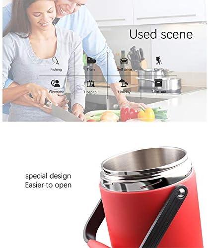 コンパートメントジャー漏れ防止断熱真空フラスコと2000mlのサーモス食品容器ポータブル保冷ランチ弁当箱,赤,2L