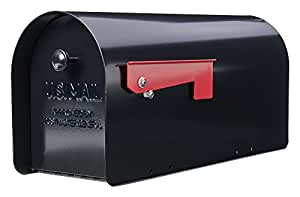 Gibraltar TB1B0000 Tuff Body Galvanized Steel Post-Mount Mailbox,10 x 7.5 x 20.75-Inches,Black