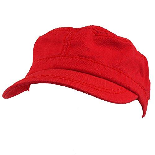 Ladies 100% Cotton Plain Blank Snapback Military Cadet Cap Hat Adjustable Red