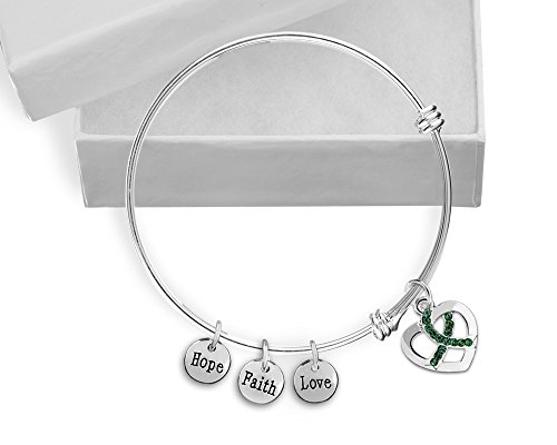 Green Ribbon Italian Charm - Green Crystal Ribbon Retractable Charm Bracelet in a Gift Box (Retail)
