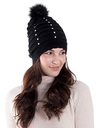 Women Winter Diamond Knit Faux Fur Pompom Beanie Hat, Black
