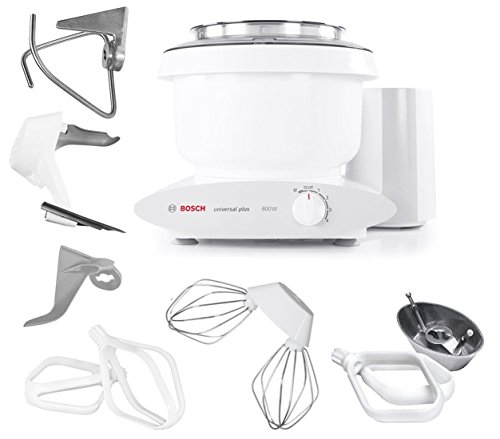Bosch MUM6N10UC Universal Plus Stand Mixer, 800 Watt, 6.5-Quarts with Bowl Scraper and Cake Paddles
