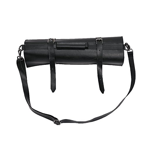 Professional Chef's Knife Roll Up Storage Bag Premium Handmade Hard Black Leather Portable Travel Chef Knife Case Carrier Storage Bag Best Gift for Pro Chef or Culinary Enthusiasts DB0001 by TUYU