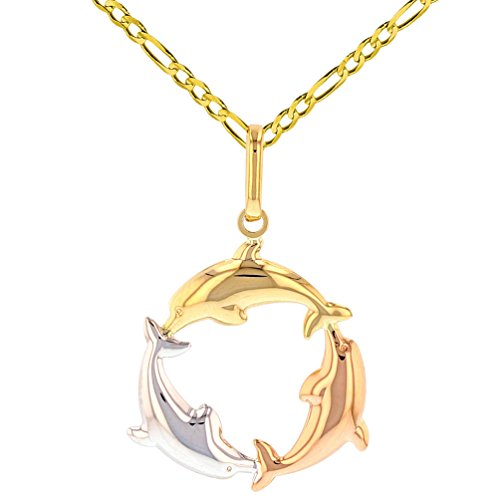 Polished 14K Tri-Color Gold Kissing Dolphin Circle Pendant Figaro Necklace, 22