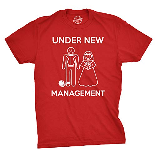 Mens Under New Management Funny Wedding Bachelor Party Novelty Tee for Guys (Red) - XL