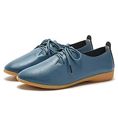 AUCDK Women Oxfords Leather Casual Flat Shoes Vintage Style Lace Up Loafers Low Top Ladies Brogues Blue