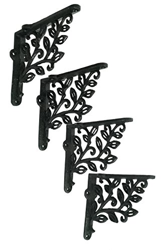 NACH js-90-422S Leaf Design Decorative Wall Shelf Bracket, Small, 5'', Black, Pack of 4 (4.9x5.5x1.2inches) by NACH