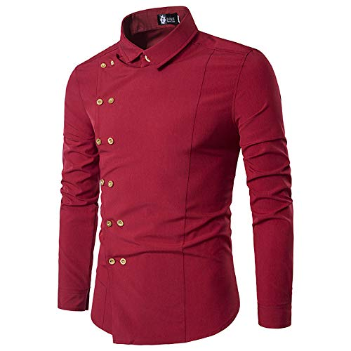 Wine Large Men's Basic Shirt  Solid colord