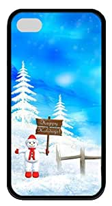 cassette iphone 4S cases Happy Winter & Christmas Holidays TPU Black for Apple iPhone 4/4S