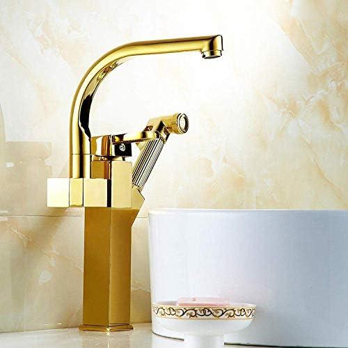 ZJN-JN 蛇口 バスルームのシンクは、スロット付き浴室の洗面台のシンクホットコールドタップミキサー流域の真鍮のシンクのプルアウト金メッキ流域の蛇口シャワーの蛇口洗面伸縮高めるには銃金メッキ蛇口スプレータップ 台付
