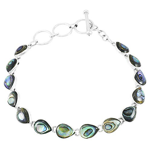 Abalone Link Bracelet in Sterling Silver 925 (Abalone)
