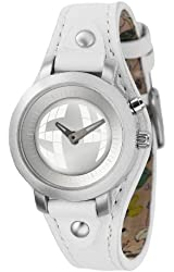 Fossil Women's BG2199 White Leather Strap Silver Big Tic Analog-Digital Dial Watch