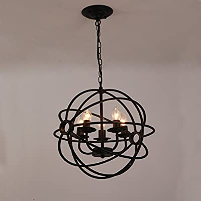LightInTheBox Antique Designers Painting Metal Chandeliers Black Cage Globe Semi Flush Mount Pendent Lighting Fixture Ceiling Light for Living Room / Bedroom / Dining Room / Kitchen / Study Room/Offic