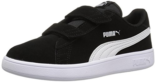 PUMA Baby Smash v2 SD Velcro Kids Sneaker, Black White, 9 M US Toddler
