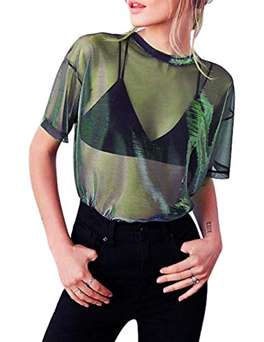 HaoDian Women's Sexy See Through Shirt- Loose T-Shirt Short Sleeve Blouse Sheer Mesh Tops (XL, Green)