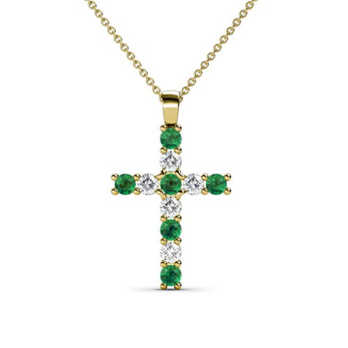 Petite Emerald and Diamond (SI2-I1, G-H) Cross Pendant 0.32 cttw in 14K Yellow Gold with 14K Gold Chain by TriJewels