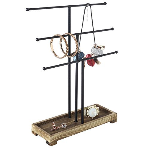 3-Tier Black Metal T-Bar Necklace & Bracelet Jewelry Display Stand & Organizer with Wood Ring Tray (Wood Base Tree Jewelry Stand)