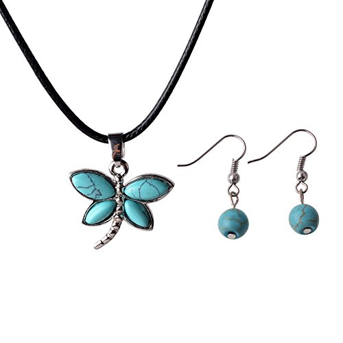 ZHEPIN Silver Dragonfly Gemstone Pendant Necklace Healing Energy Stone Necklace Inlay Turquoise Pendant Necklace Earrings, 19 ()