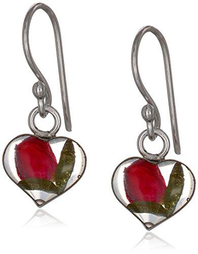 Sterling Silver Pressed-Flower Small Heart Drop Earrings