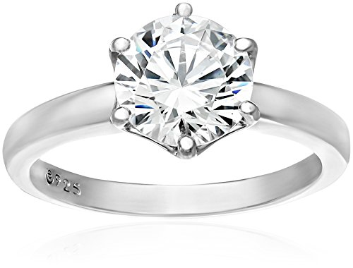 Platinum-Plated Sterling Silver Solitaire Ring set with Round Swarovski Zirconia (3 cttw), Size 9