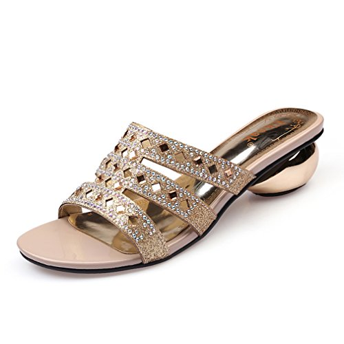 Dovaly Women Sandals Black Summer Party Sexy Crystal Open Toe Med High Heels Slippers Sandals