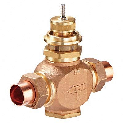 "Johnson Controls VG7281NT Series VG7000 Bronze Globe Valve, Two-Way Push-Down-to-Close, Brass Trim, Union Sweat End Connection, 1"" Valve Size, 11.6 Cv"