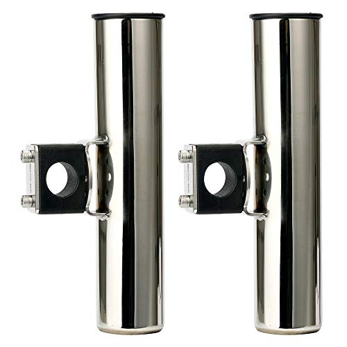Amarine Made Stainless Rail Mounted Clamp on Rod Holder for Fishing Boat - 25mm Rail - 7744sx25 (2) (Rod Holder Rail)