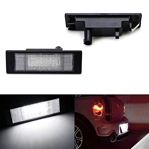 iJDMTOY OEM-Fit 3W Full LED License Plate Light Kit Compatible with Mini Cooper R55 R60 R61 (2007-11 Clubman, 2011-16 Countryman, 2013-16 Paceman), Powered by 24-SMD Xenon White LED