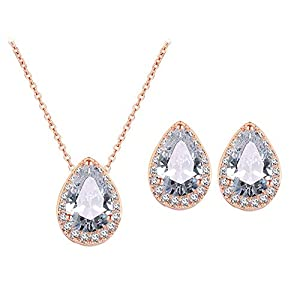 UDORA CZ Tearsdrop Earrings Necklace Jewelry Set For Bride Bridesmaids With Gifts Box