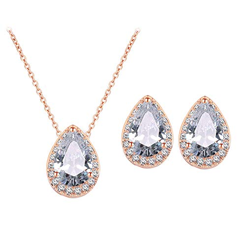 UDORA CZ Tearsdrop Earrings Necklace Jewelry Set for Bride Bridesmaids (Rose Gold)