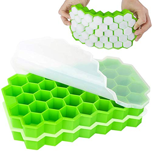 Ice Cube Trays 2 Pack, iReaydo Ice Trays for Freezer with Lid, Easy-Release Silicone & Flexible 74 Small Ice Cube Tray for Whiskey Cocktail Chilled Drinks, BPA Free & Stackable Ice Molds with Covers
