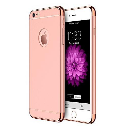 Coque iPhone 6s Plus, Coque iPhone 6 Plus, RANVOO 3 en 1 Coque de Protections, Electro Placage Texture Protector, Excellent Toucher, Or Rose