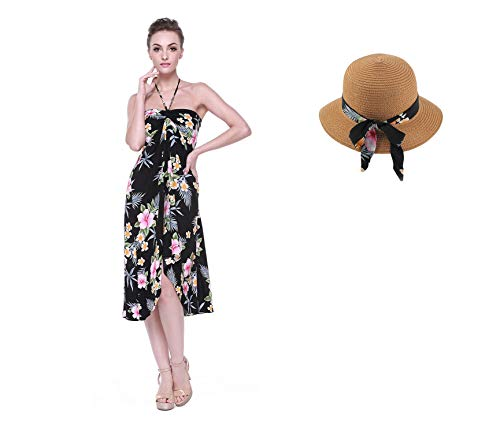 Hawaiian Luau Halter Floral Print Butterfly Dress and Hat with Matching Band S Hibiscus Black