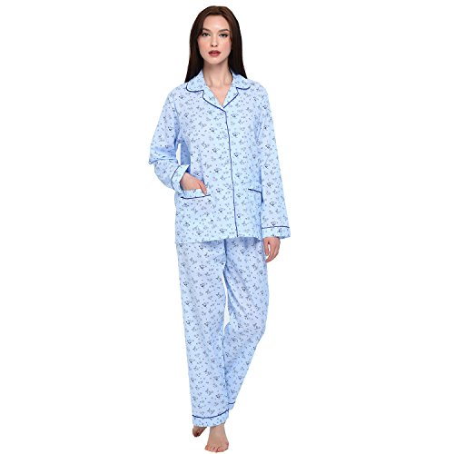 GLOBAL Women's Lounge 2 Piece Pajama Set Top & Pants, 100% Cotton Long Sleeve Soft PJ Set