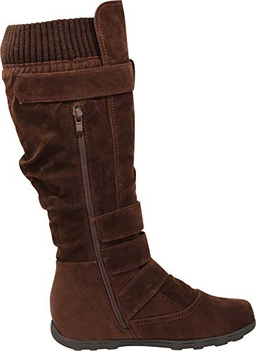 Knee Flat Women's High Brown Select Sweater Knit Cambridge Buckle Boot wPYqAxg6