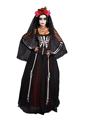 Day Of The Dead Costumes 2016 (Dreamgirl Women's Ms. Bones Costume Set with Headpiece, Black, Medium)