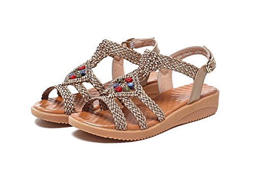 Always Pretty Womens Flat Beach Sandals for women Plus Size on sale Brown wj8QiDb