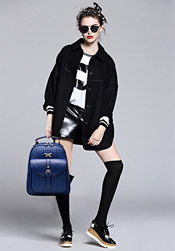 NICOLE&DORIS Moda Mujer Bowknot School Bolsa de viaje mochila Daypack hombro duradero impermeable PU Azul Marino Tejer Azul Marino Tejer
