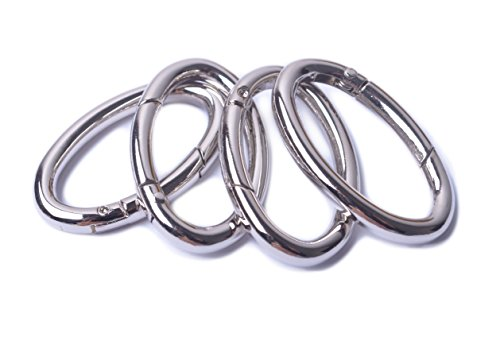 Bobeey 4pcs 53x22mm Spring Oval Rings,Silver Oval Carabiner Snap Clip Trigger Spring Keyring Buckle,Oval Ring for Bags,Purses BBC8 (Silver) ... (Oval Clasp)
