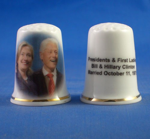 Birchcroft Porcelain China Collectable Thimble Presidents & First Ladies Bill & Hillary Clinton Birchcroft China