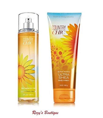 Bath & Body Works - Signature Collection – Country Chic - Gift Set- Fine Fragrance Mist 8 Fl Oz & Ultra Shea Body Cream 8 Oz ()