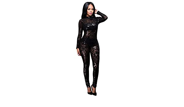 Blansdi Women Mock Neck Long Sleeve Mesh Sequin Glitter Clubwear Bodycon Jumpsuit Romper