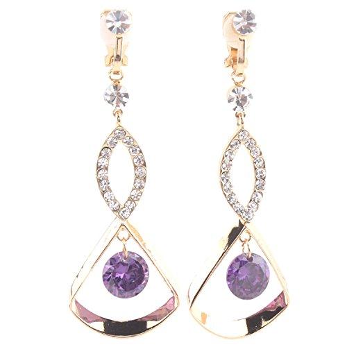 idal Rhinestone CZ Long Clip on Earrings Non Piercing for Women Ear Clip (Gold+Purple) ()